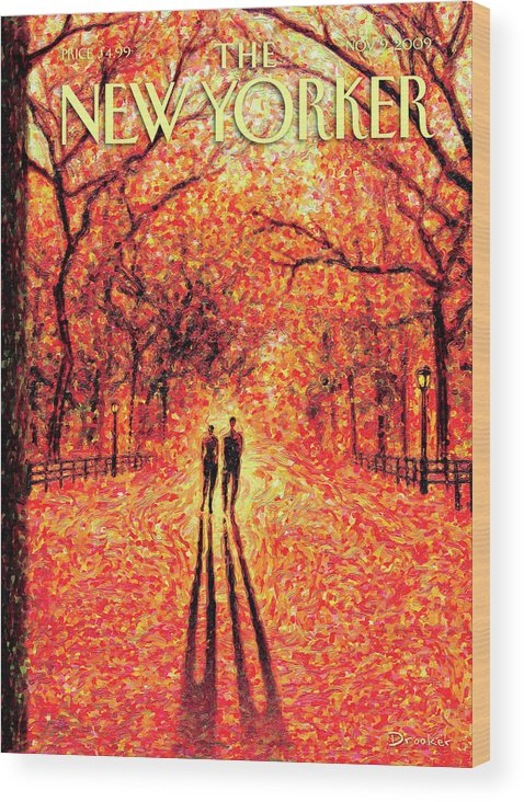Nature Wood Print featuring the painting Autumn In Central Park by Eric Drooker