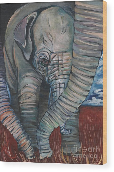 Baby Elephant Wood Print featuring the painting Baby Comfort by Aimee Vance