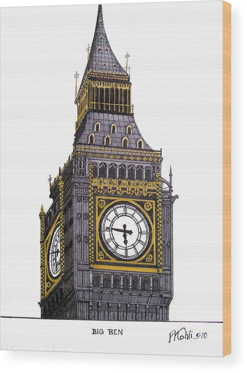 Ink Drawings Wood Print featuring the drawing Big Ben by Frederic Kohli
