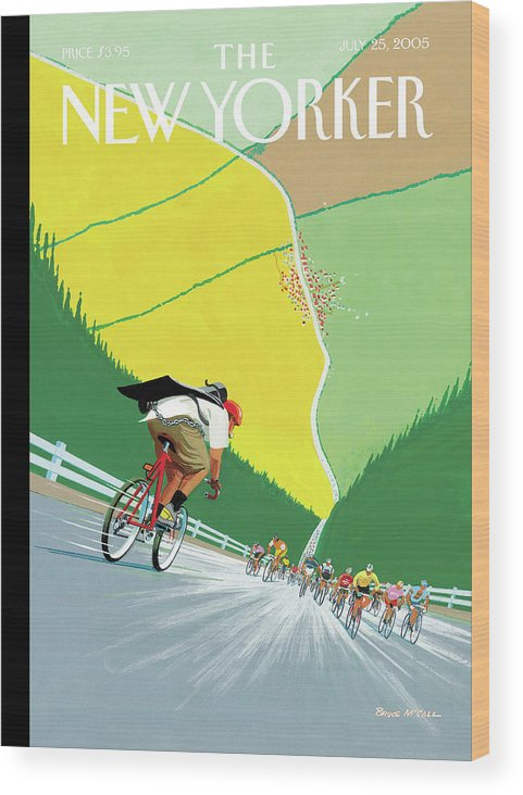 Sports Wood Print featuring the painting Tour De Force by Bruce McCall