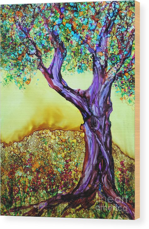 Alcohol Inks Wood Print featuring the painting Blooming Tree by Francine Dufour Jones