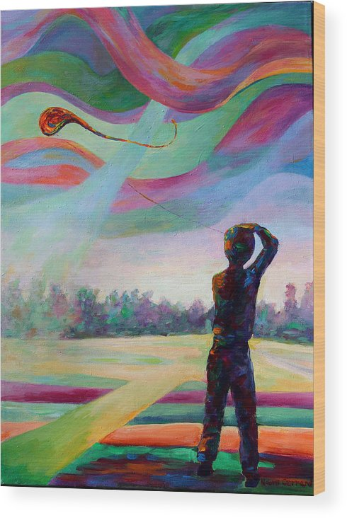 Colorful Wood Print featuring the painting Catching the Wind by Naomi Gerrard