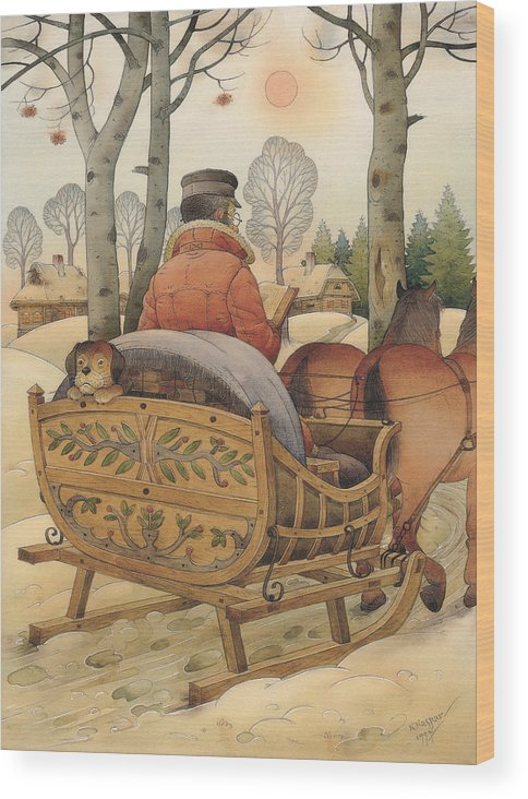 Christmas Gretting Card Winter Books Lanscape Snow White Holiday Wood Print featuring the painting Christmas Eve by Kestutis Kasparavicius