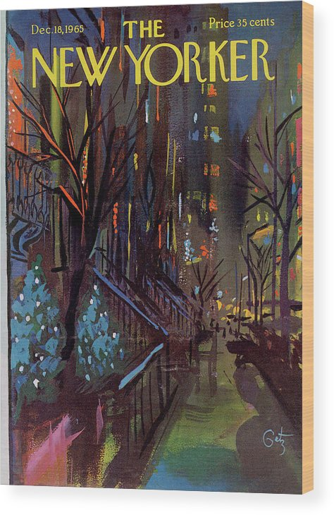Christmas Wood Print featuring the painting Christmas In New York by Arthur Getz