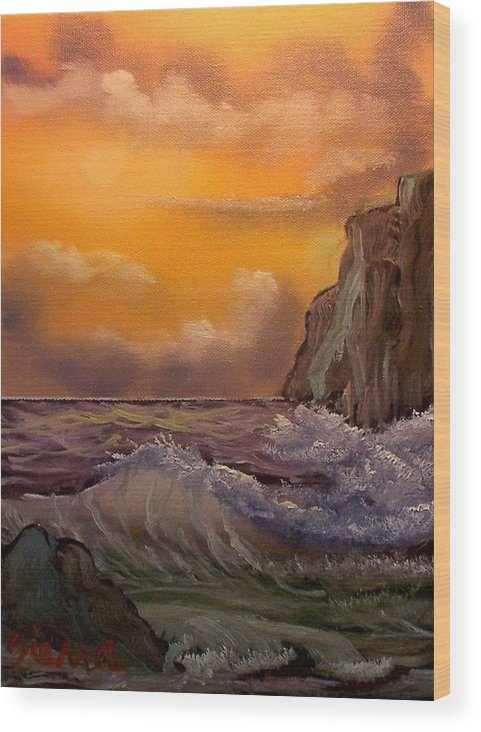 Landscape Wood Print featuring the painting Cliffside Wave by Dina Sierra