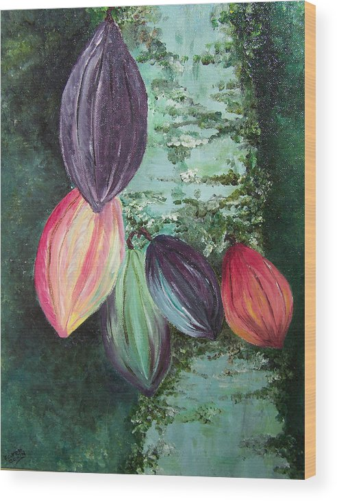 Cocoa On The Tree Wood Print featuring the painting Cocoa Pods by Karin Dawn Kelshall- Best