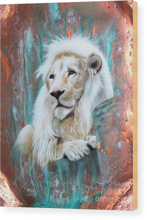 Copper Wood Print featuring the painting Copper White Lion by Sandi Baker