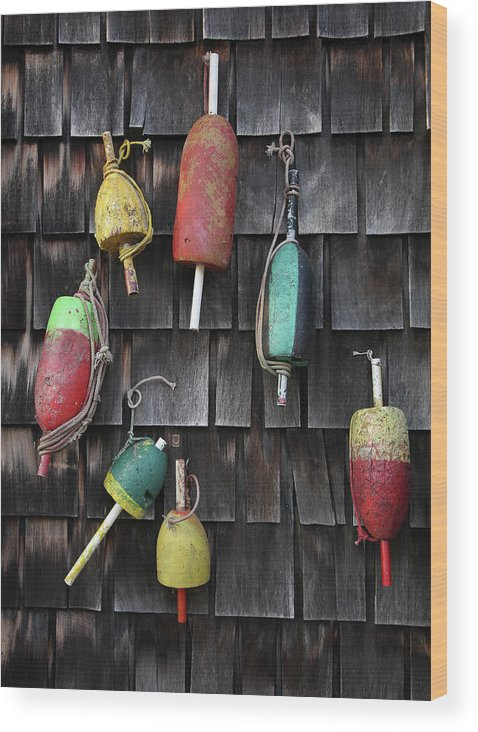 Cedar Tree Wood Print featuring the photograph Crab Pot Floats by Photo By Wayne Bierbaum; Annapolis, Maryland