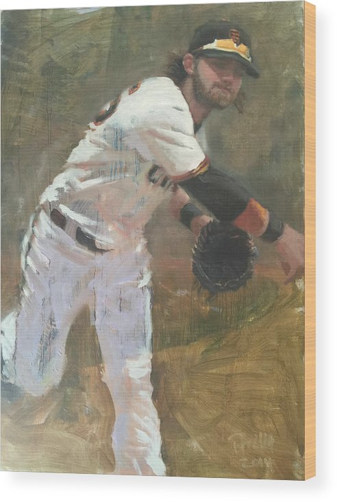 Brandon Crawford Wood Print featuring the painting Crawford Throw to First by Darren Kerr