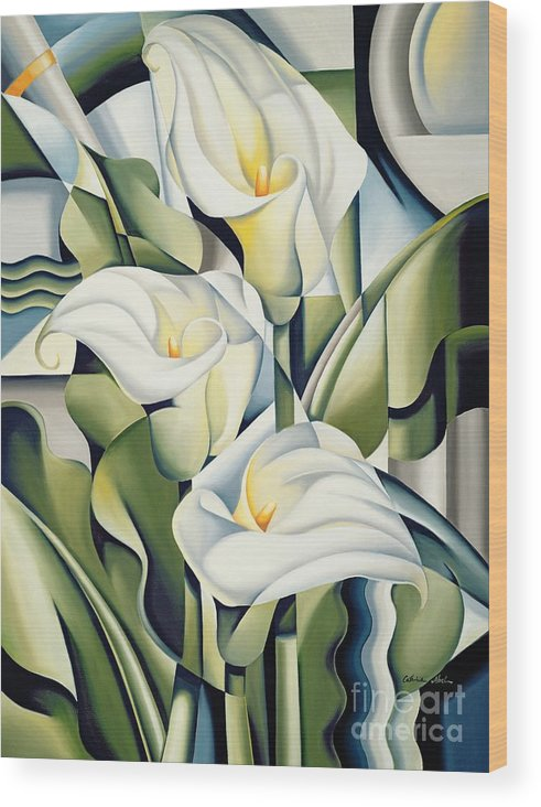 Cubist Wood Print featuring the painting Cubist Lilies by Catherine Abel