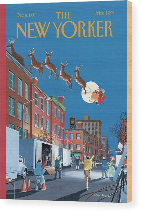 Santa Wood Print featuring the painting Cut by Bruce McCall