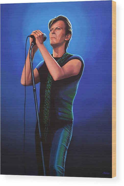 David Bowie Wood Print featuring the painting David Bowie 2 Painting by Paul Meijering