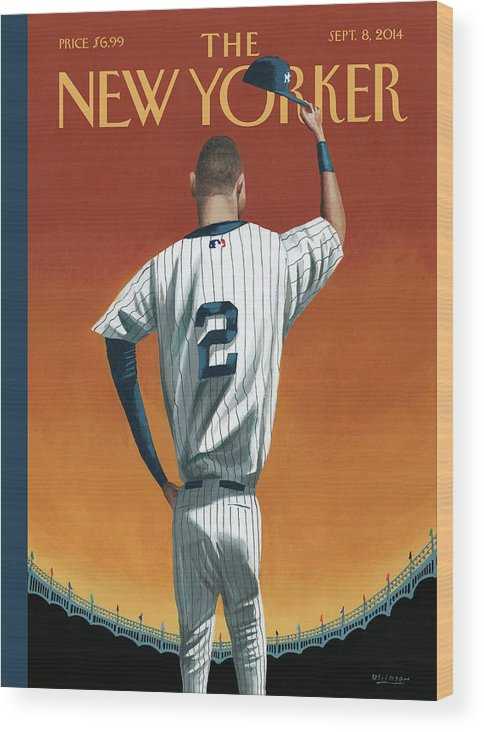 Retirement Wood Print featuring the painting Derek Jeter Bows Out by Mark Ulriksen