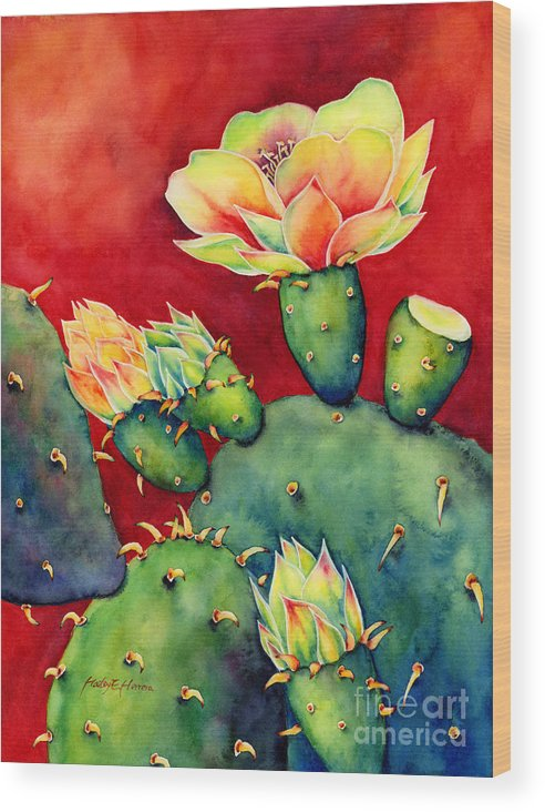 Cactus Wood Print featuring the painting Desert Bloom by Hailey E Herrera