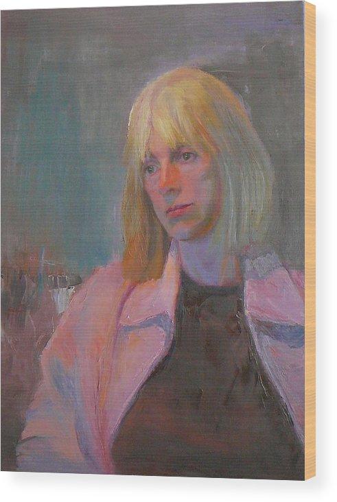 Portrait Wood Print featuring the painting Dusk by Irena Jablonski