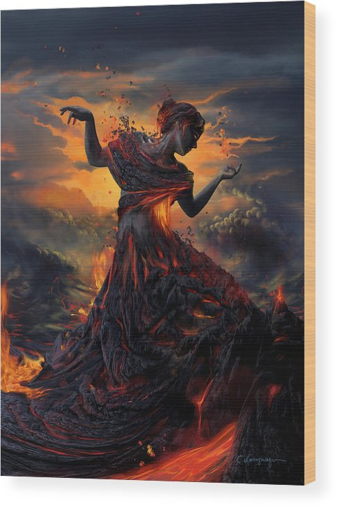 Fire Wood Print featuring the digital art Elements - Fire by Cassiopeia Art