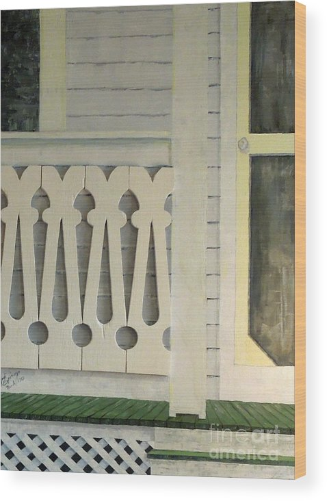 Farmhouse Wood Print featuring the painting Farmhouse Porch Right Side by Judith Espinoza