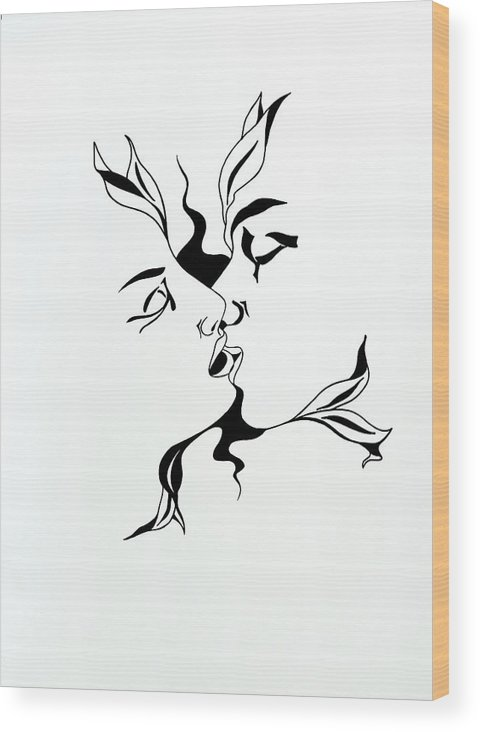 Love Wood Print featuring the drawing First Kiss by Yelena Tylkina