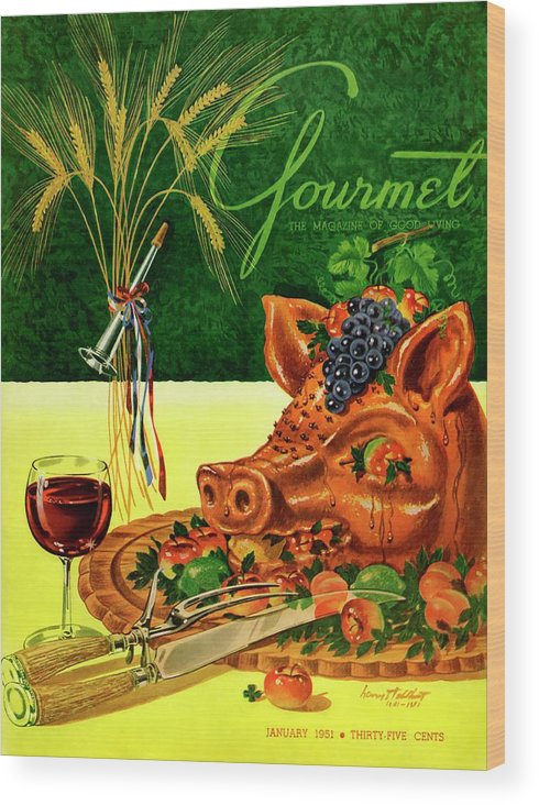 Illustration Wood Print featuring the photograph Gourmet Cover Featuring A Pig's Head On A Platter by Henry Stahlhut