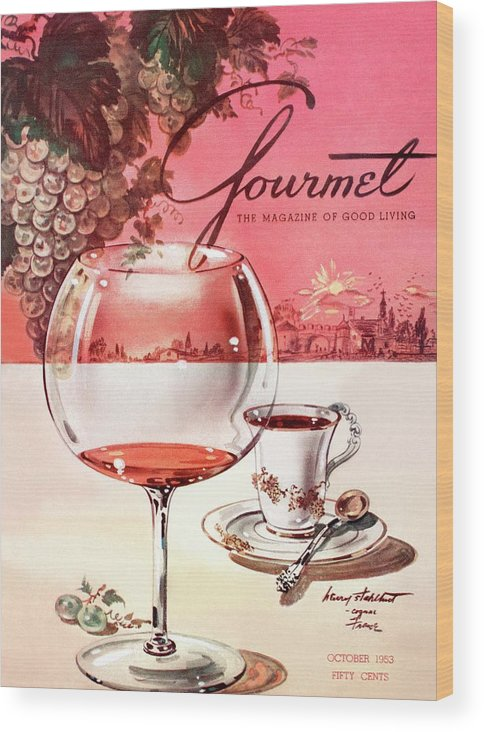 Travel Wood Print featuring the photograph Gourmet Cover Illustration Of A Baccarat Balloon by Henry Stahlhut