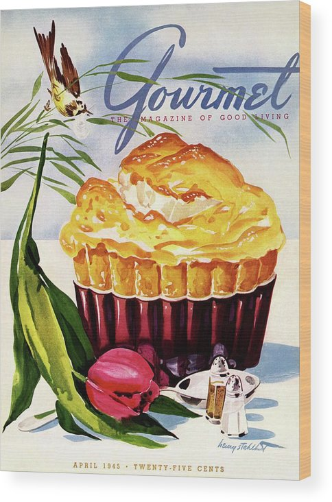 Illustration Wood Print featuring the photograph Gourmet Cover Illustration Of A Souffle And Tulip by Henry Stahlhut