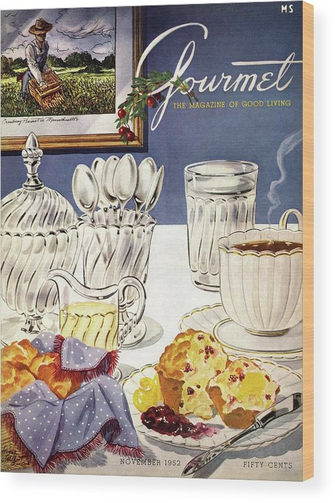 Food Wood Print featuring the photograph Gourmet Cover Illustration Of Cranberry Muffins by Henry Stahlhut