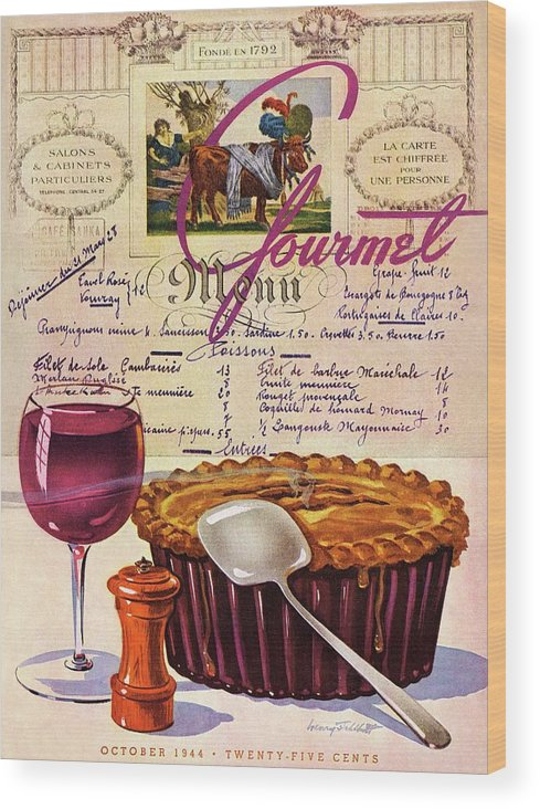 Food Wood Print featuring the photograph Gourmet Cover Illustration Of Deep Dish Pie by Henry Stahlhut