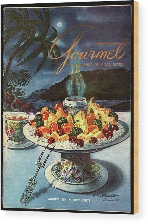 Food Wood Print featuring the photograph Gourmet Cover Illustration Of Fruit Dish by Henry Stahlhut