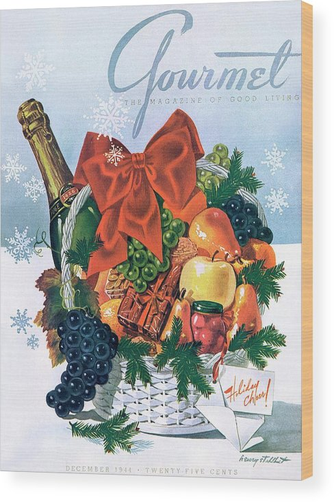 Food Wood Print featuring the photograph Gourmet Cover Illustration Of Holiday Fruit Basket by Henry Stahlhut