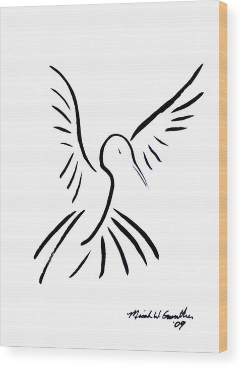 Bird Wood Print featuring the drawing Hummingbird by Micah Guenther
