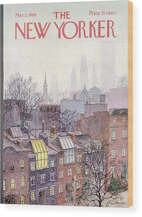 Albert Hubbell Ahu Wood Print featuring the painting New Yorker March 2, 1968 by Albert Hubbell