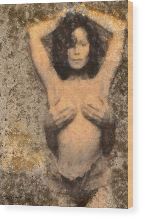 Sacredlife Mandalas Wood Print featuring the painting Janet Jackson - Tribute by Derek Gedney