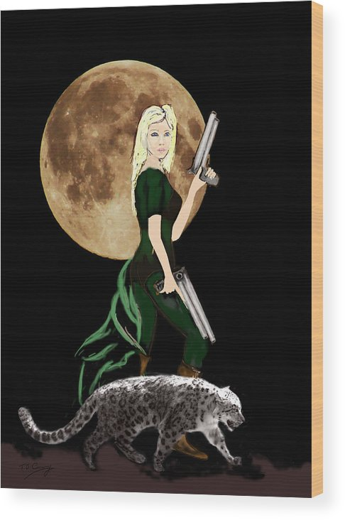 Fantasy Art Wood Print featuring the photograph Jasmine and the Snow Leopard by Tom Conway