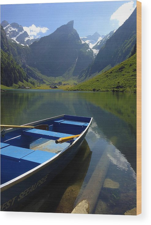 Seealpsee Wood Print featuring the photograph Lake Seealpsee Alpstein Canton Appenzell Switzerland by PIXELS XPOSED Ralph A Ledergerber Photography