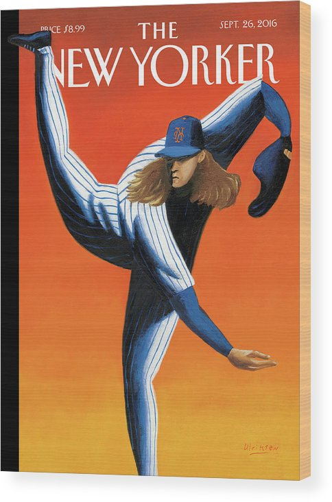 Mets Wood Print featuring the painting Late Innings by Mark Ulriksen