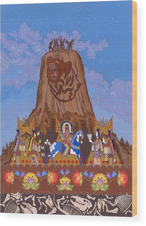 America Wood Print featuring the painting Legend Of Bear's Tipi by Chholing Taha