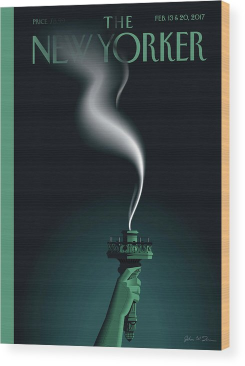 Statue Of Liberty Wood Print featuring the painting Liberty's Flameout by John W Tomac