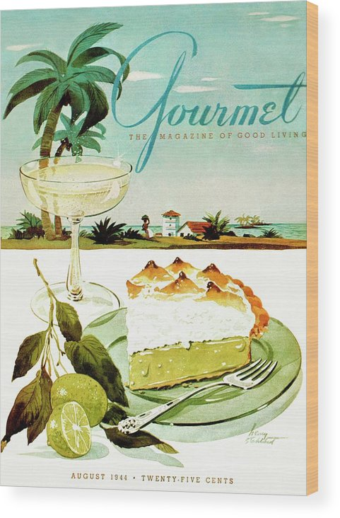 Food Wood Print featuring the photograph Lime Meringue Pie With Champagne by Henry Stahlhut