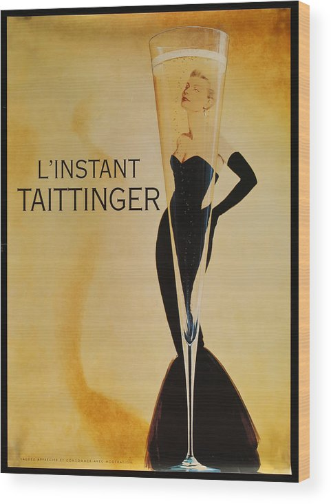L'instant Taittanger Wood Print featuring the digital art L'Instant Taittinger by Georgia Fowler