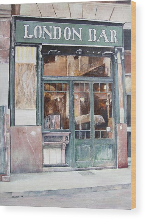 London Wood Print featuring the painting London bar-Barcelona by Tomas Castano