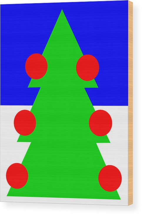 Lonely Christmas Tree Wishes You A Merry Christmas Wood Print featuring the digital art Lonely Christmas Tree wishes you a Merry Christmas by Asbjorn Lonvig