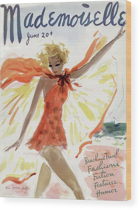 Illustration Wood Print featuring the painting Mademoiselle Cover Featuring A Model At The Beach by Helen Jameson Hall