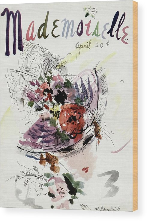 Fashion Wood Print featuring the photograph Mademoiselle Cover Featuring An Illustration by Helen Jameson Hall