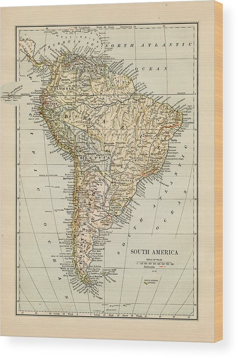 Burnt Wood Print featuring the photograph Map Of South America 1875 by Thepalmer