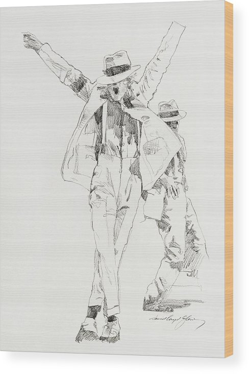 Michael Jackson Wood Print featuring the drawing Michael Smooth Criminal by David Lloyd Glover