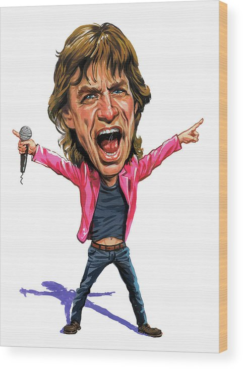Mick Jagger Wood Print featuring the painting Mick Jagger by Art