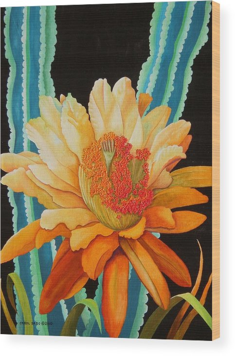 Acrylic Wood Print featuring the painting Midnight Bloom by Carol Sabo