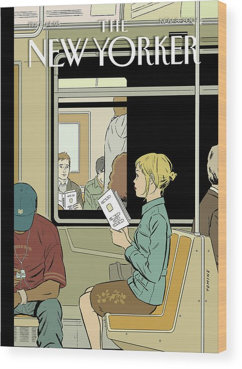 120017 120017  Atm Adrian Tomine Wood Print featuring the painting Missed Connection by Adrian Tomine