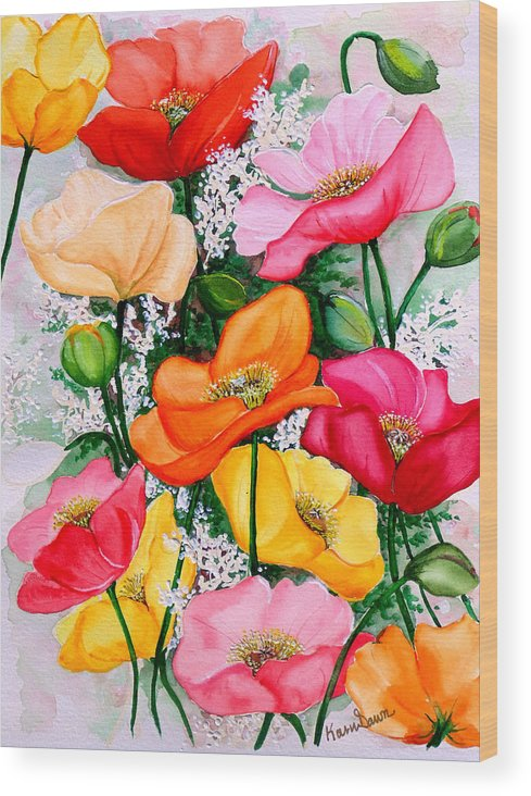 Poppies Wood Print featuring the painting Mixed Poppies by Karin Dawn Kelshall- Best