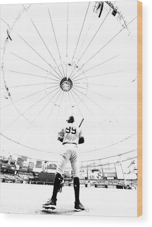 People Wood Print featuring the photograph New York Yankees v Tampa Bay Rays by Mike Ehrmann